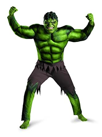 Disguise Marvel's Avengers Movie Hulk Avengers Classic Muscle Adult Costume, Brown/Green, X-Large/(42-46)