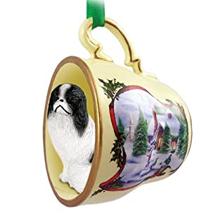 Japanese Chin Dogs in Holiday Scene Teacup Christmas Ornament