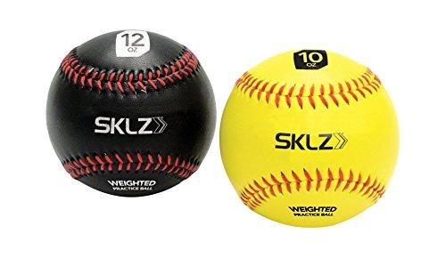 SKLZ Weighted Baseballs (Yellow 10 oz, Black 12 oz), 2-Pack