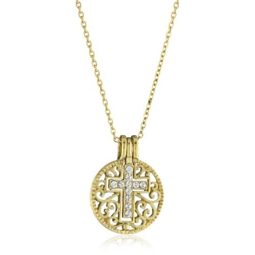 The Vatican Library Collection Crystal Cross Gold Tone Necklace