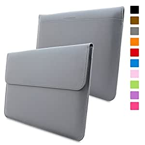 Macbook Air 13 / Pro 13 Case, Snugg™ - Leather Sleeve Cover with Lifetime Guarantee (Grey) for Apple Macbook Air 13 and Macbook Pro 13 with Retina