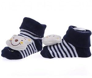 EOZY Diseño De Sonrisa De Oso Tejido Jacquard Antideslizante Botas Botines Calcetines Para Bebé Algodón Color Crema en BebeHogar.com