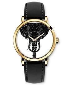 buy Analog Gold Women Wrist Watch Black Leather Strap - Elegant Elephant