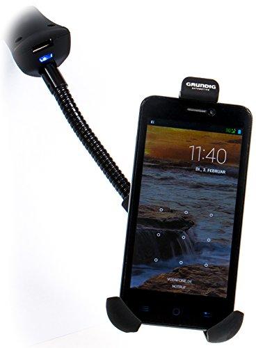 Grundig Handyhalter mit flexibler Verlängerung, USB-Adapter, Kontrollleuchte, 12/24V, 5A (1A)