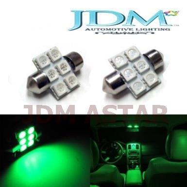 Jdm Astar 6-Smd 1.25 Inches De3175 De3021 De3022 3175 Led Interior Map Dome Lights, Emerald Green