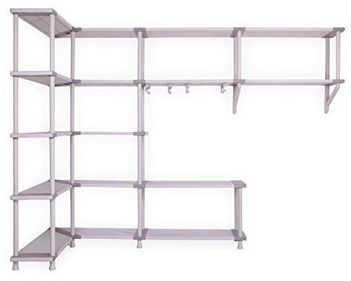 Modulares-Regalsystem-fr-die-Ecke-Freedom-zur-Wandmontage-Schwerlastregale-mit-Ecklsung-und-Kleiderstangen