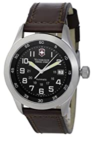 Victorinox SAF Airboss Mach 1 Men's Automatic Watch with Black Dial Analogue Display and Brown Leather Strap V.25091