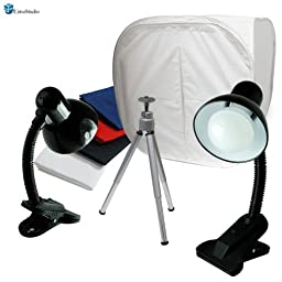 LimoStudio Table Top Photo Box, Lighting Soft Box Photography Lighting Tent Kit with Rotatable Tripod Stand, 2 LED Light Stands, AGG1304