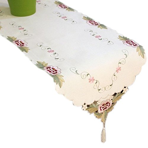Simple Floral Embroidery Table Runner, Beige 68''