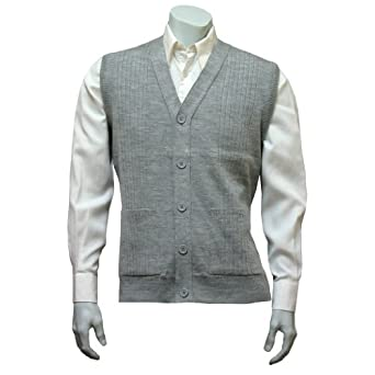 "Mens Sleeveless Cardigan Knitted Waistcoat - Silver Grey (XXLarge (46"" - 48"" Chest))"