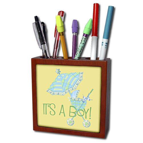 Ph_45154_1 Tnmgraphics Children - Its A Boy Stroller And Umbrella - Tile Pen Holders-5 Inch Tile Pen Holder front-59046