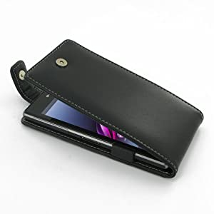 Pdair Flip Top Case for Sony Xperia Z1 Black Hand Made Leather Soft Protective Carry Cover with belt clip