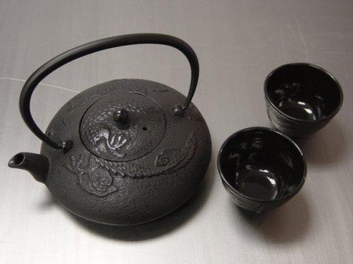 Japanese Cast Iron Tea Pot Tea Set /Dragon Black