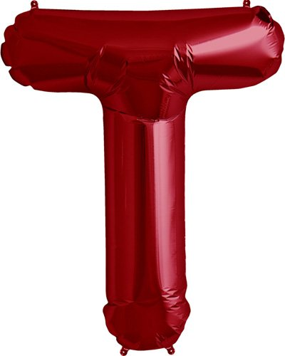 Letter T - Red Helium Foil Balloon - 34 inch