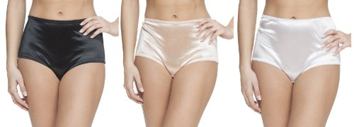 Platinum Lingerie Women's Plus Size 3 Pack Multicolor Satin Look High Waist Full Briefs Black White Nude 4X