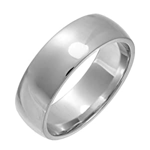 Theia Silver Super Heavy - Court shape - Highly Polished 7mm Wedding Ring - Size Q