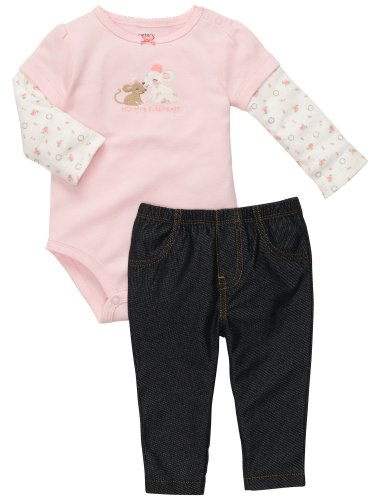 Carter'S 2-Pc L/S Bodysuit Set - Denim-3 Months front-901129