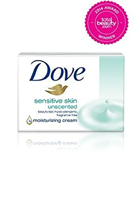 Sensitive Skin Unscented Moisturizing Cream Beauty Bar By Dove, 6 Count 4 Oz Each