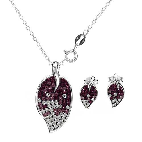Sterling Silver Crystals Ladies Jewelry Set. Length 13 in. Total Item weight 2.3 g.