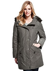 M&S Collection Hooded Faux Fur Trim Padded Parka with Stormwear™ & Thinsulate™