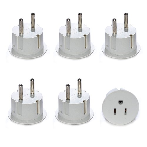 OREI American USA To European Schuko Germany Plug Adapters CE Certified Heavy Duty - 6 Pack (Plug Converters compare prices)