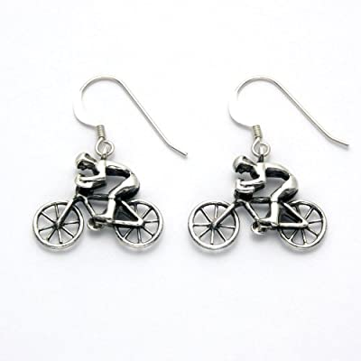 Sterling Silver Rider on Bicycle Earrings