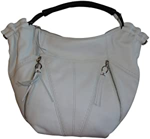 Women's B Makowsky Leather Purse Handbag Tote Michelle White