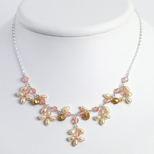 Sterling Silver Cherry Quartz/Golden & Peach Cultured Pearl Necklace