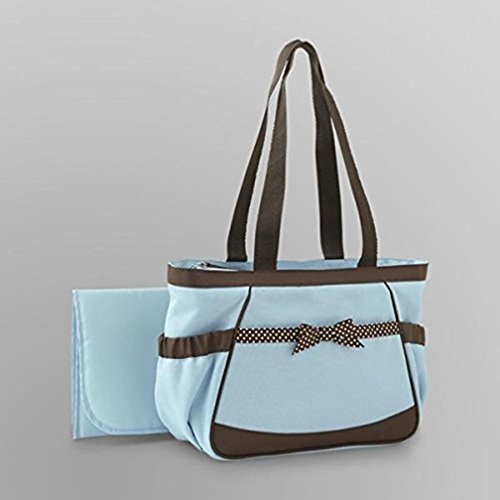 Baby Essentials Fashion Diaper Tote Blue Whith Brown Ribbon - 1