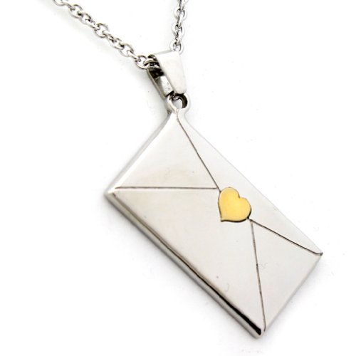 Envelope Pendant Necklace With Gold Colored Heart Seal