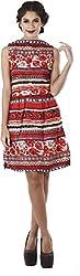 Difneez Women's Poly-crepe A-Line Dress(aline-dress-red001_Red, White_Medium)