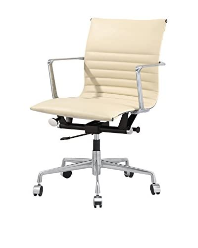 Meelano Office Chair In Italian Leather, Beige