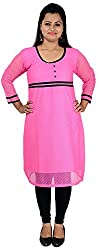 NelNik Women's Net Kurta (Nel033_Medium, Pink, Small)