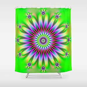 Society6 Flower In Green Yellow And Purple Shower Curtain By Ob