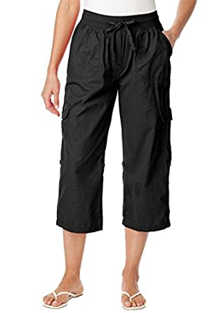 Women's Plus Size Pants, capri style in convertible lengths (BLACK,12 W)