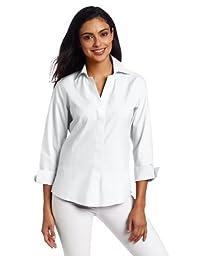 Foxcroft Women\'s Hidden Placket Shirt, White, 18