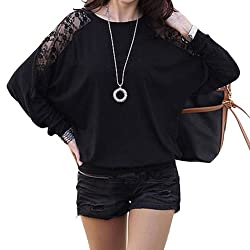 ISASSY Womens Ladies Stylish Sexy Hot Loose Batwing Dolman Lace Blouses Top T-shirt Fit UK Size 8-20, Batwing Style, Long Sleeves, Loose Style