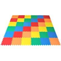 "Ewonderworld Non-Toxic Extra Thick Rainbow Wonder Mats, 36 Pieces, 12"" X 12"" X ~9/16"" (5 Colors)"