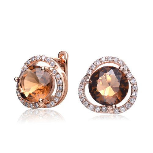 ClassicDiamondHouse CZ SMOKEY TOPAZ ROUND EARRINGS - Incl. ClassicDiamondHouse Free Gift Box & Cleaning Cloth