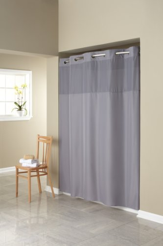 Hookless RBH40MY408 Fabric Shower Curtain with Built in Liner  -Grey (Hookless Shower Curtain compare prices)