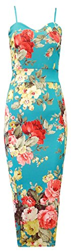 Crazy Girls Womens Celebrity Multi Floral Print Ladies Bodycon Midi Dress