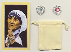 Mother Teresa/Theresa Relic Medal with Holy Card and Velour Bag