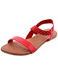 Fast Enterprises Flat Synthetic Sandals For Women , Size - P , Red (SN2216RD_P)