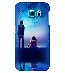 Printvisa A Girl And Boy With Blue Night Background Back Case Cover for Samsung Galaxy Note 5 Edge::Samsung Galaxy Note 5 Edge 2