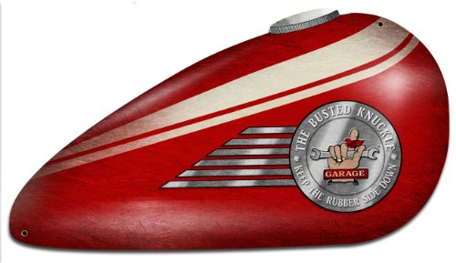 Busted Knuckle Garage BUST095 Red Motorcycle Tank Sign (Busted Knuckle Garage Clock compare prices)