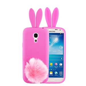 3D Rabito Ear Style Silicone Case with Plush Suction Cup Holder for Samsung Galaxy S IV / i9500 (Magenta)