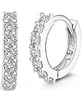 JewelTime 925 Sterling Silver Rhinestones Hoop Stud Earrings for Women
