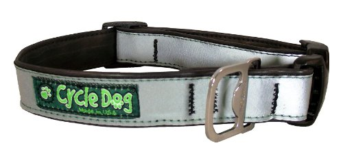 Cycle Dog Bottle Opener Recycled Dog Collar, Silver Max Reflective, Large