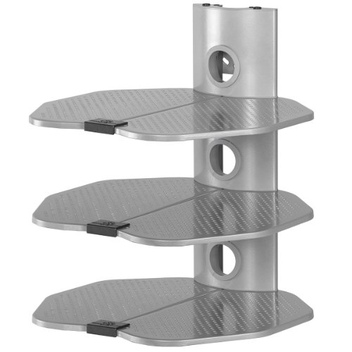 cheetah mounts as3s 3 tier electronic component glass shelf wall mount bracket with cable. Black Bedroom Furniture Sets. Home Design Ideas