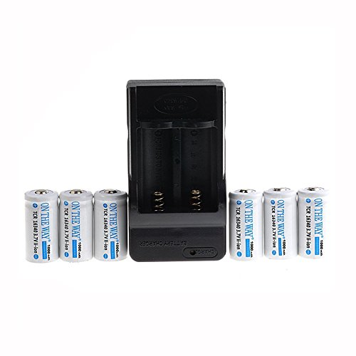ON THE WAY®6pcs 16340 3.7v 1000mAh Rechargeable LED torch light lithium Battery and Charger